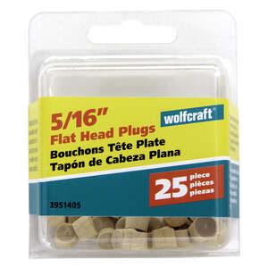 Wolfcraft  Flat  Birch  Flat Head Plug  5/16 in. Dia. x 1/4 in. L 25 pk Natural
