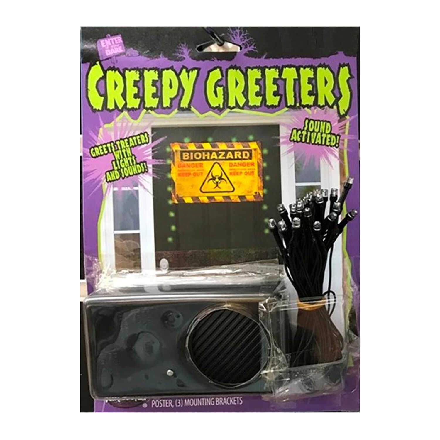 Fun World  Creepy Greeter Biohazard Zone with Lights and Sounds  Lighted Halloween Decoration  1.38