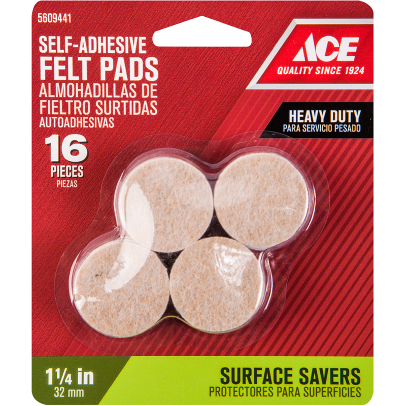 Beau Shepherd Felt Self Adhesive Pad Brown Round 1 1/4 In. W 16