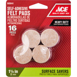 Shepherd  Felt  Self Adhesive Pad  Brown  Round  1-1/4 in. W 16 pk