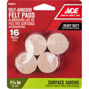 Shepherd  Felt  Pad  Brown  Round  1-1/4 in. W 16 pk Self Adhesive