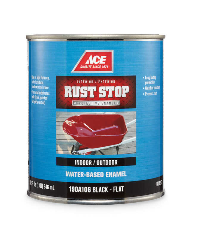 Ace  Rust Stop  Indoor and Outdoor  Flat  Black  Rust Prevention Paint  1 qt.
