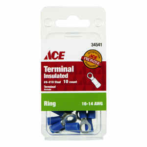 Ace  Insulated Wire  Ring Terminal  Blue  10 pk