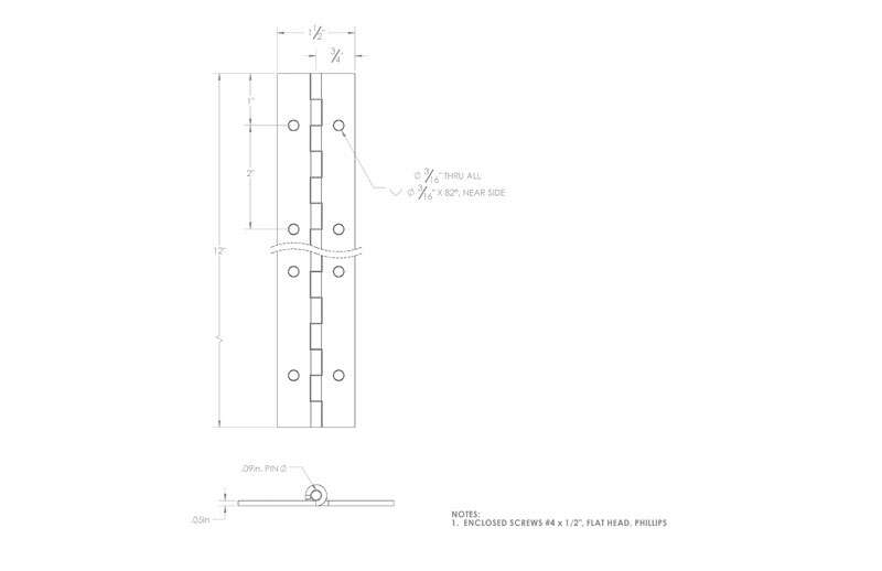 Ace  1-1/2 in. W x 12 in. L Nickel  Metal  Continuous Hinge  1