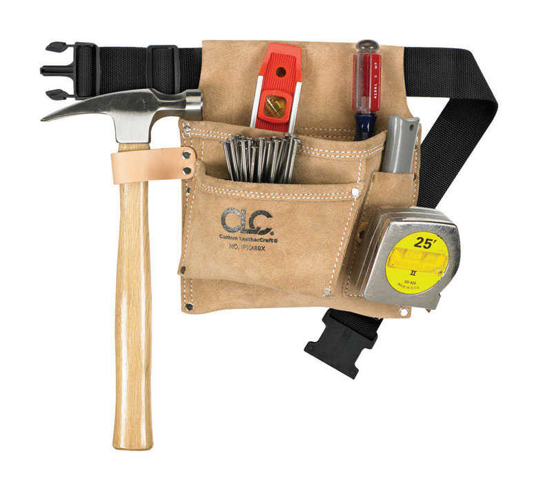 CLC Work Gear  Heavy Duty 3 pocket Suede Leather  Tool and Nail Belt  29 in. Black  2 in. W x 11.25
