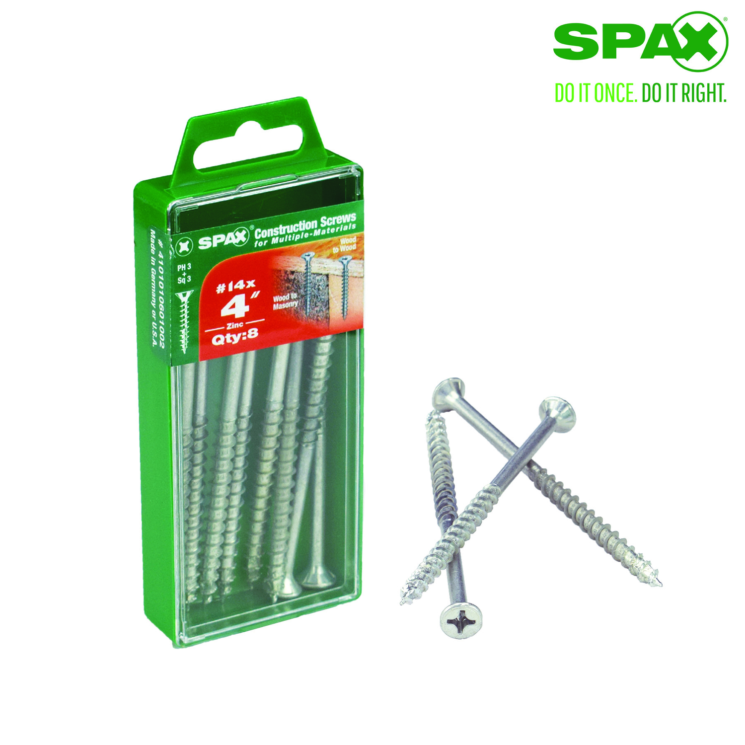 SPAX  No. 14   x 4 in. L Phillips/Square  Flat  Zinc-Plated  Steel  Multi-Purpose Screw  8 each