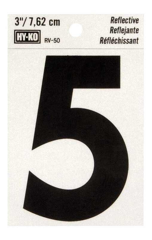 Hy-Ko  3 in. Reflective Vinyl  5  Number  Self-Adhesive  Black
