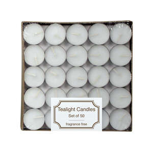 Langley Empire  No Scent White  Tea Light Candle  Candle  7.5 in. H x 1.1 in. Dia.