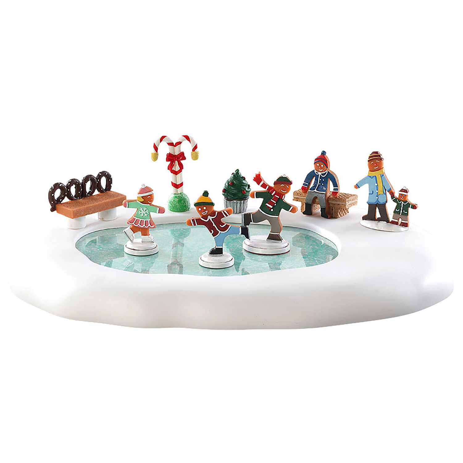 Lemax  Christmas Gingerbread Skating Pond  Tabletop Decoration  Multicolored  Resin  1 pk