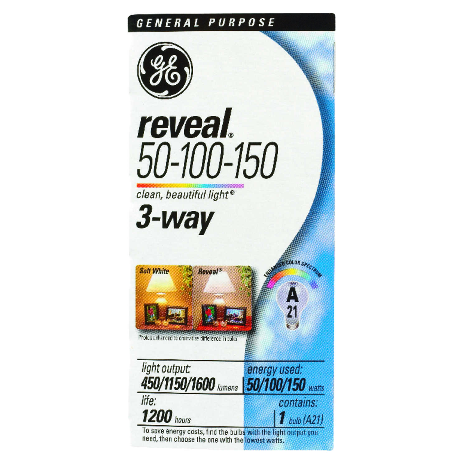 GE Lighting  Reveal  50/100/150 watts A21  Three Way Bulb Incandescent Bulb  450/1,150/1,600 lumens