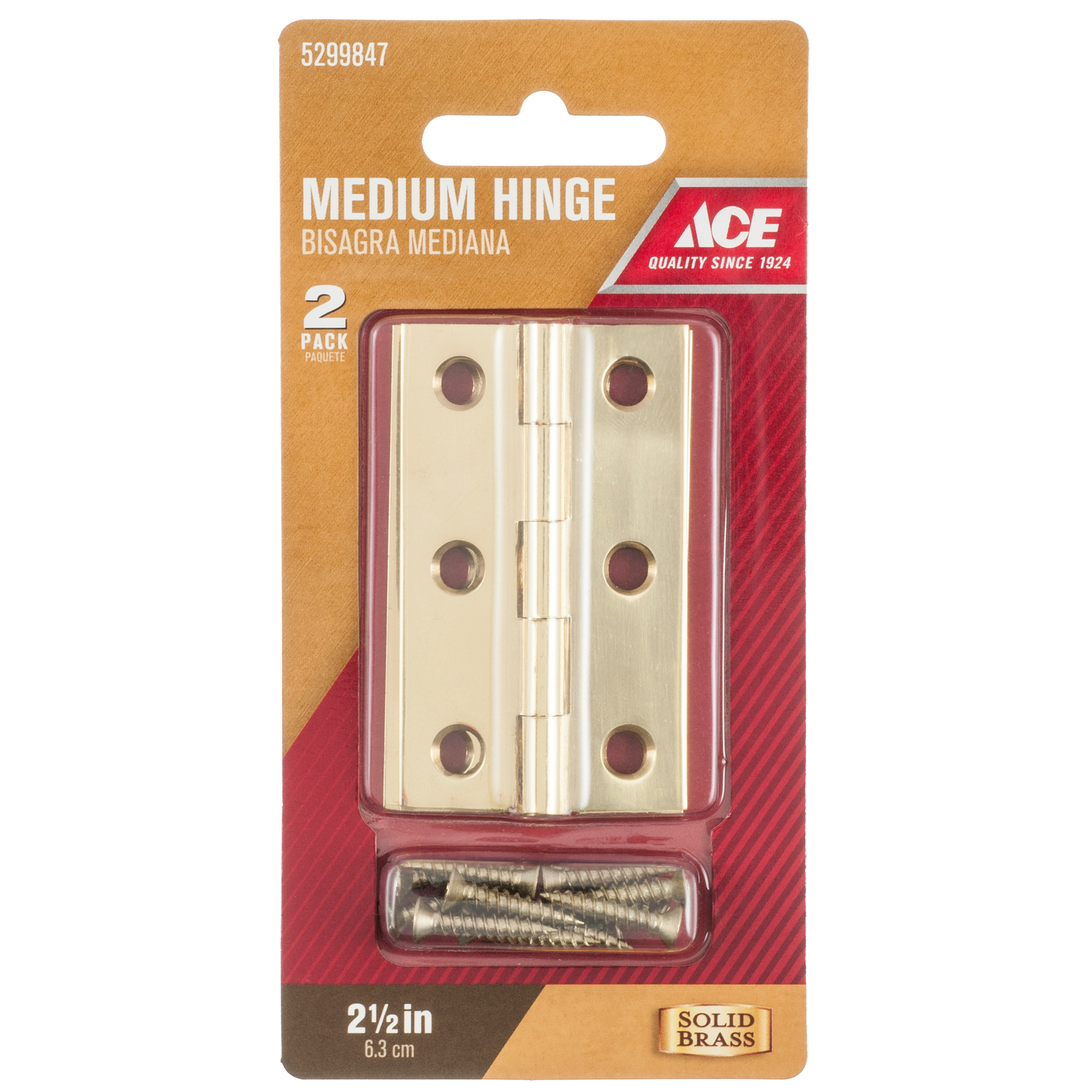 Ace  2-1/2 in. W x 1-9/16 in. L Polished Brass  Brass  Medium Hinge  2 pk