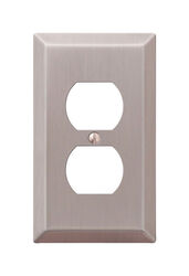 Amerelle  Century  Brushed Nickel  Gray  1 gang Stamped Steel  Duplex Outlet  Wall Plate  1 pk