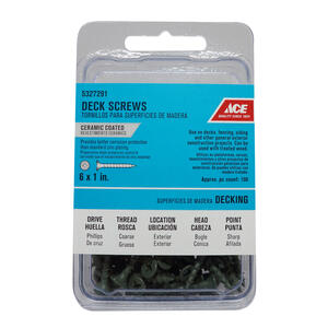 Ace  No. 6   x 1 in. L Phillips  Bugle Head Ceramic Coated  Premium Deck Screws  100 pk