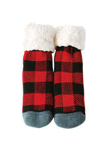 Pudus  Red/Black Plaid  Slipper Socks  Acrylic/Polyester  1 pair