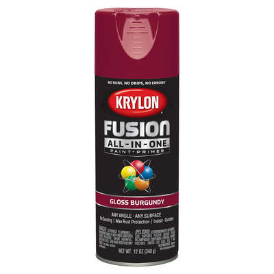 Krylon Fusion All-In-One Gloss Burgundy Paint + Primer Spray Paint 12 oz.