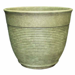 Southern Patio  12.6 in. H x 14.6 in. Dia. Sand  Resin  Multi-Ring  Planter