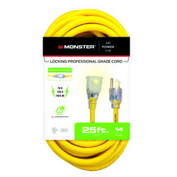 Monster Just Power It Up Outdoor 25 ft. L Yellow Extension Cord 14/3 SJTW