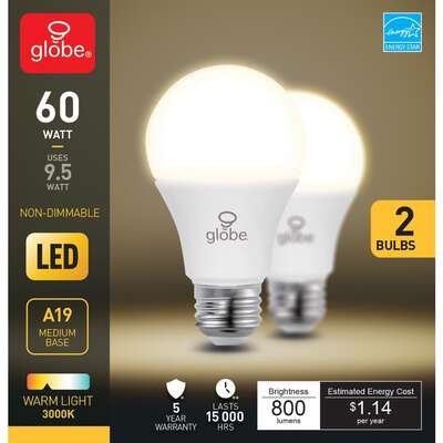 Globe Electric  A19  E26 (Medium)  LED Bulb  Soft White  60 Watt Equivalence 2 pk