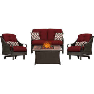 Hanover  Ventura  4 pc. cocoa Stone  Steel  Wood Grain  Firepit Set  Crimson Red