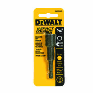 DeWalt  Impact Ready  7/16 in.  x 2-9/16 in. L Nut Driver  1/4 in. 1 pc. Quick-Change Hex Shank  Bla