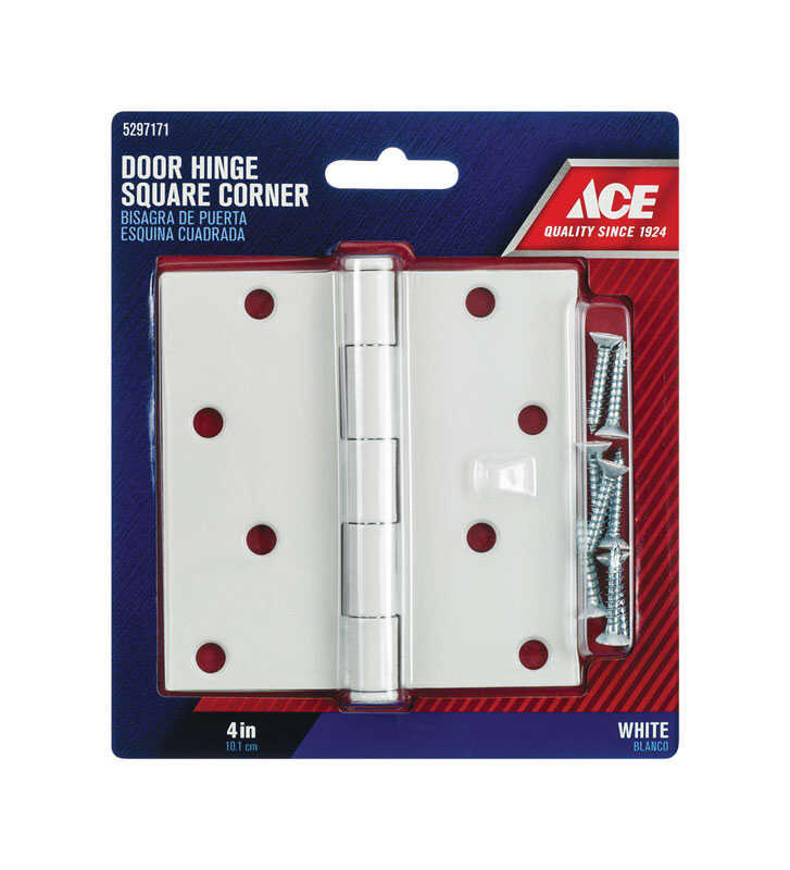 Ace  4 in. L White  Steel  Residential Door Hinge  1 pk