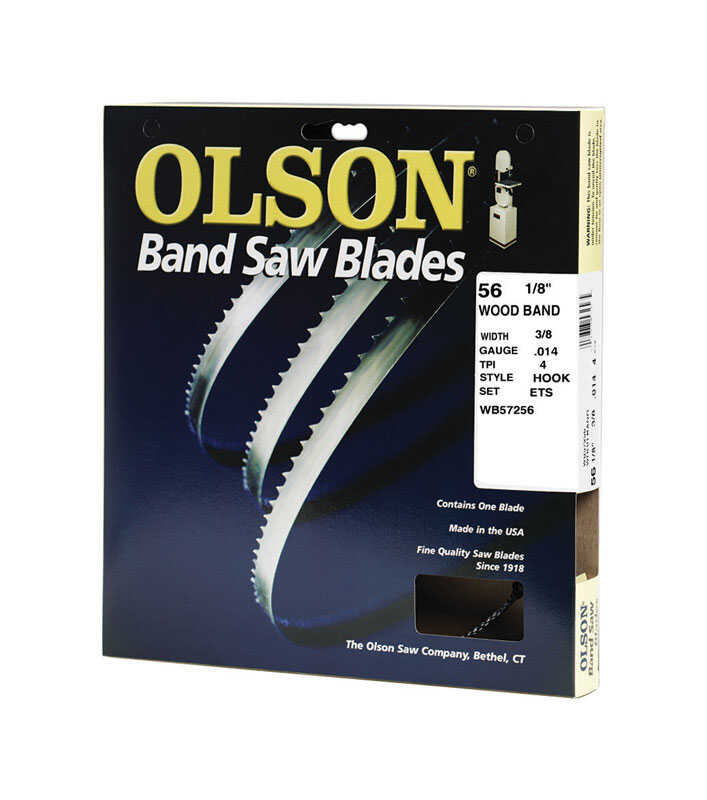 Olson  0.01 in.  x 0.4 in. W x 56.1  L Band Saw Blade  4 TPI Hook  1 pk Carbon Steel