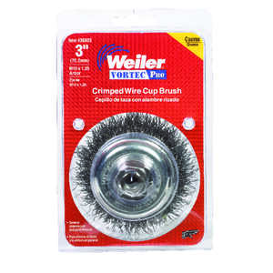 Weiler  0.014 in. Dia. x 1 in. in.  Coarse  Steel  Crimped Wire Cup Brush  1 pc.