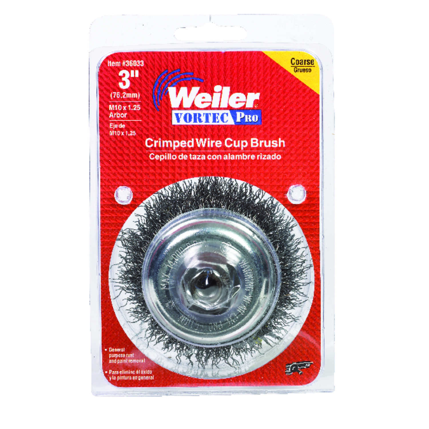 Weiler  0.014 in. Dia. x 1 in. in.  Coarse  Crimped Wire Cup Brush  Steel  1 pc.