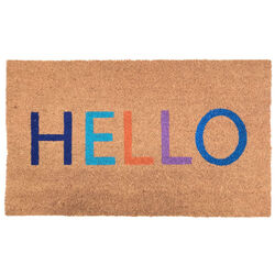 J & M Home Fashions 2.5 ft. L x 1.5 ft. W Multi-color HELLO Coir Rug