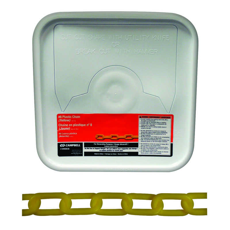 Campbell Chain  8  Yellow  Plastic  Decorative Chain  0.29 in. Dia. 1.5 in.