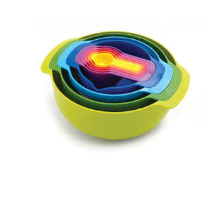 Joseph Joseph  Nest  3 qt. Polypropylene  Multicolored  Mixing Bowls and Measuring Set  9 pc.