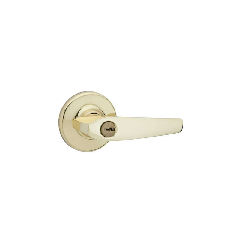 Kwikset Delta Polished Brass Entry Lockset ANSI/BHMA Grade 3 KW1 1-3/4 in.