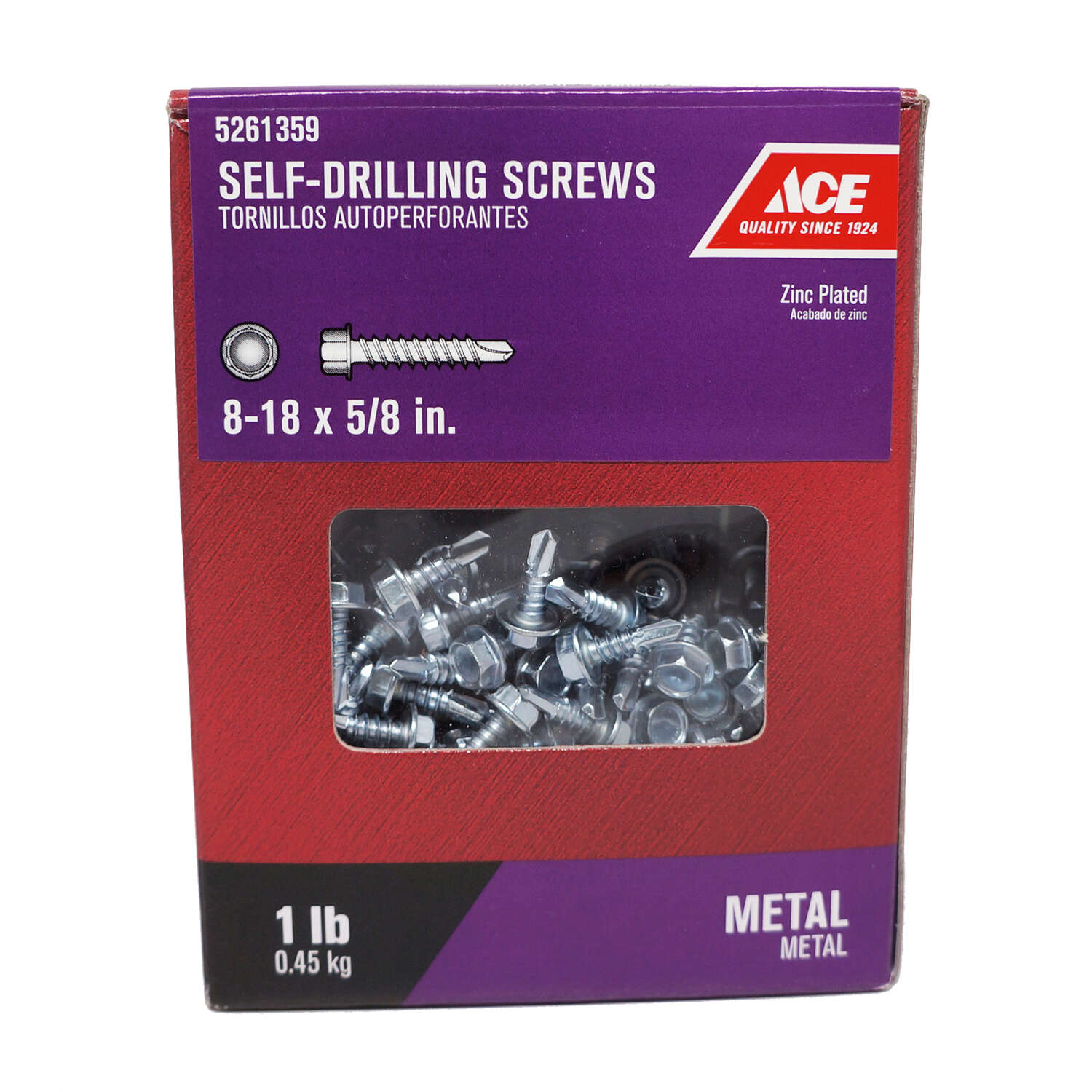 Ace  No. 8-18   x 5/8 in. L Hex Washer Head Zinc-Plated  Steel  Self- Drilling Screws  1 lb.