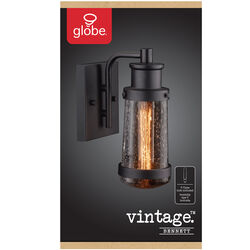 Globe Electric  Bennett  1-Light  Matte  Black  Vintage  Wall Sconce