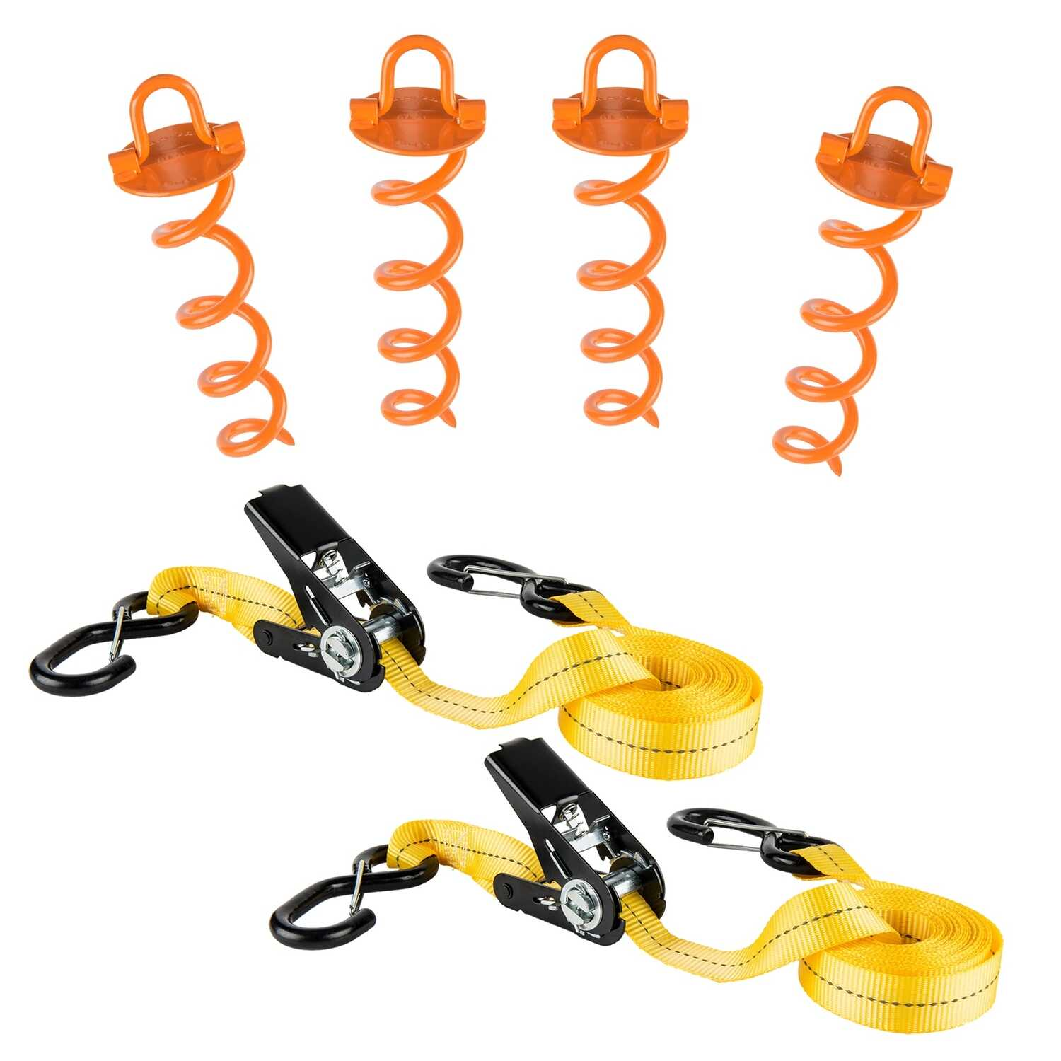 Keeper  Severe Weather  1 in. W x 30 ft. L Yellow  Tie Down Kit  500 lb.