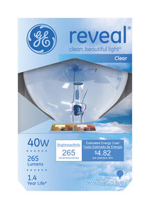 GE  Reveal  40 watts G25  Globe  Incandescent Bulb  E26 (Medium)  Soft White  1 pk