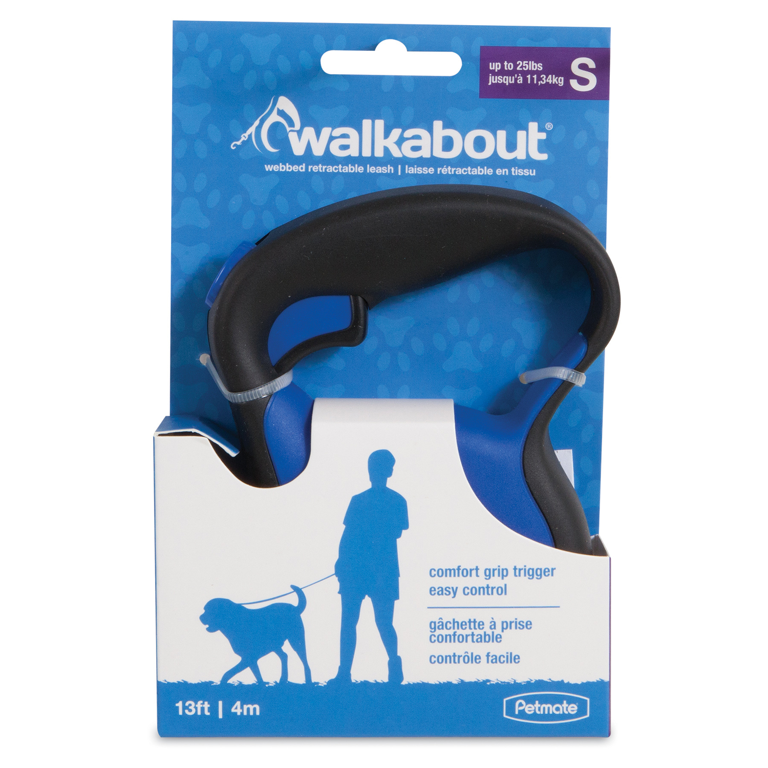 Petmate  Walkabout  Blue  Plastic  Retractable Leash  Small