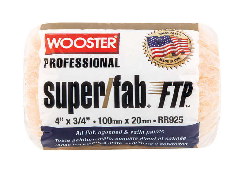 Wooster  Super/Fab FTP  Synthetic Blend  3/4 in.  x 4 in. W Paint Roller Cover  For Rough Surfaces 1