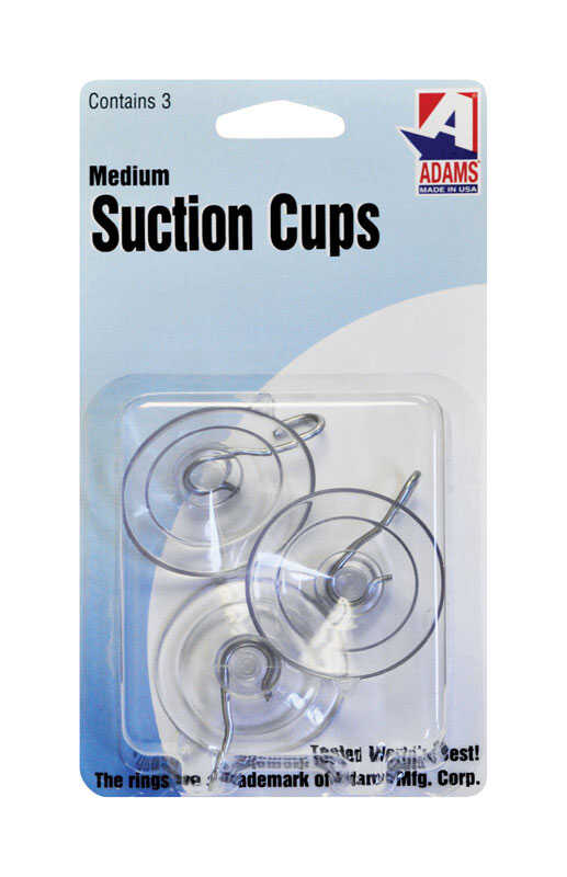 Adams  1.75 in. W x 0.875 in. L Clear  Suction Cup With Hooks