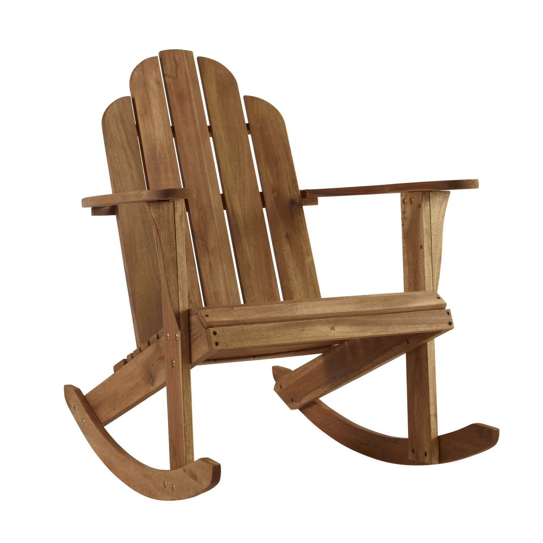 Linon Home Decor Tahoe Brown Wood Adirondack Rocking Chair