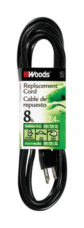 Woods  16/3 SJTW  125 volt 8 ft. L Power Cord