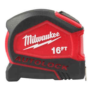 Milwaukee  16 ft. L x 1.88 in. W Compact  Auto Lock Tape Measure  Red  SAE  1 pk