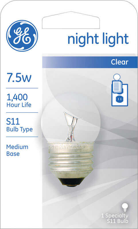 GE Lighting  7.5 watts S11  Incandescent Bulb  53 lumens Soft White  A-Line  1 pk