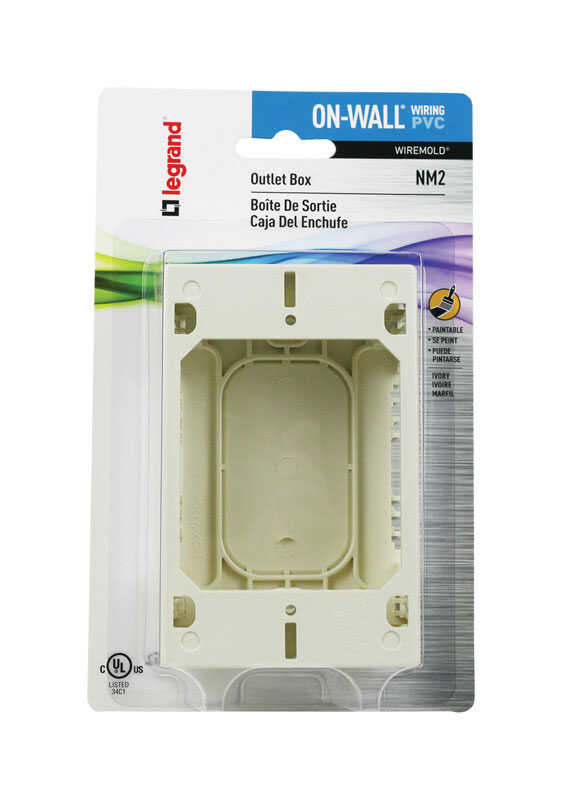 Wiremold  1 Gang  Plastic  Rectangle  Outlet Box  Ivory  1.6 in. 1 gang