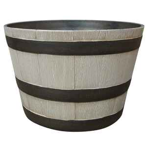 Southern Patio  9.21 in. H x 15.5 in. Dia. Birch  Resin  Whiskey Barrel  Planter