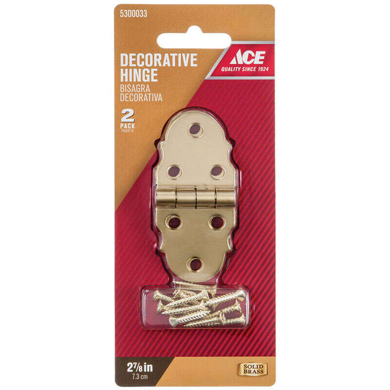 Ace  2-7/8 in. W x 1-5/16 in. L Antique Brass  Brass  Decorative Hinge  2 pk