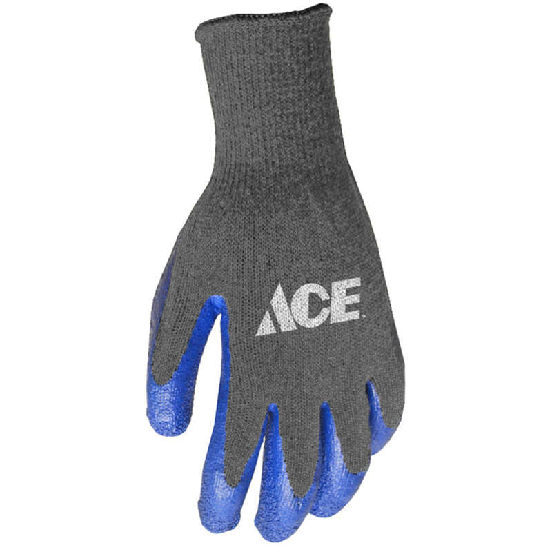 Ace Men's Indoor/Outdoor Latex Coated Work Gloves Blue/Gray L 1 pair