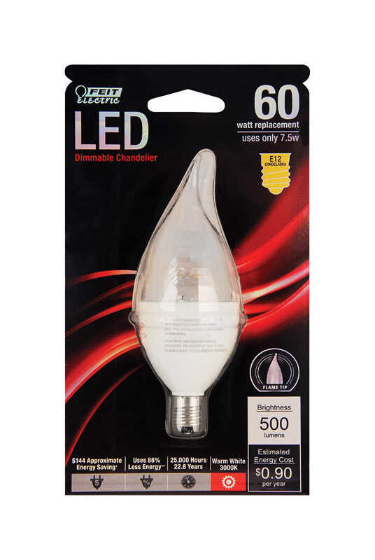 FEIT Electric  6.8 watts CA10  LED Bulb  500 lumens Warm White  60 Watt Equivalence Chandelier