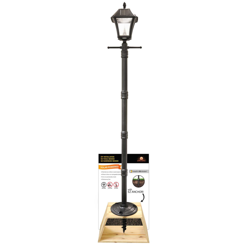 Black Led Solar Powered 5 Ft Traditional Garden Lamp Post: Gama Sonic Baytown 2 Black Solar Powered LED 1 Pk Post
