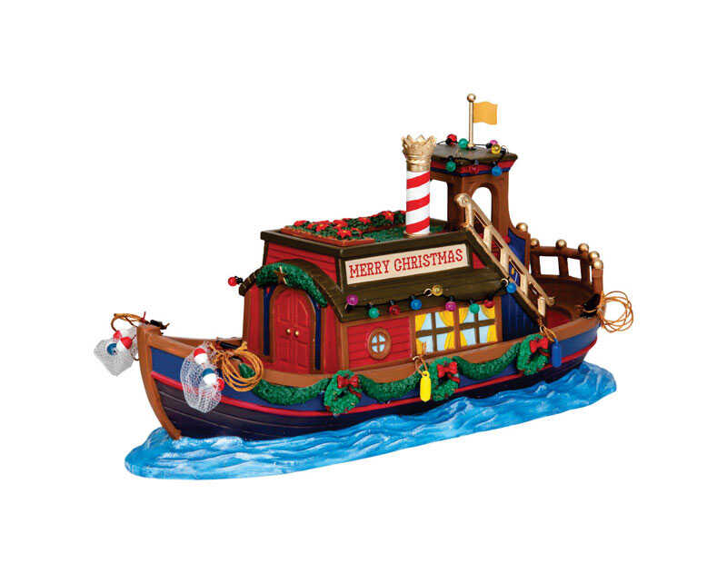 Lemax  Canal Houseboat  Village Building  Multicolor  Resin  5.91 in. 1 each